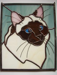 Cat Stained Glass - Himalayan or Ragdoll Stained Glass Suncatchers, Stained Glass Crafts, Faux Stained Glass, Stained Glass Designs, Stained Glass Patterns, Stained Glass Windows, Mosaic Art, Mosaic Glass, Cat Quilt