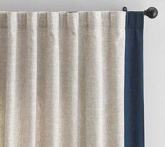 "Emery Framed Border Linen Drape, 50 x 108"", Flax/Navy"