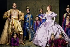 The stars of The King and I: Ken Watanabe as King Mongkut of Siam and Kelli O'Hara as Anna Leonowens, surrounded by young actors playing the king's children; photographed in New York City. Photograph by Annie Leibovitz.