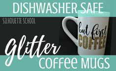 Silhouette CAMEO tutorial on how to apply glittler heat transfer vinyl to coffee mugs