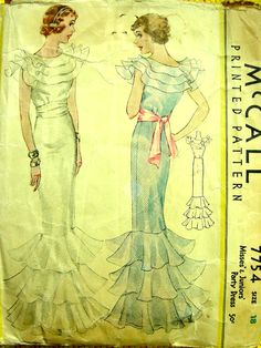 Ladies Evening Gown With Sash - Reproduction 1934 Sewing Pattern - 34 Inch Bust Vintage Dress Patterns, Vintage Gowns, Vintage Bridal, Clothing Patterns, Vintage Outfits, Vintage Fashion, Vintage Clothing, Clothing Templates, 1930s Fashion