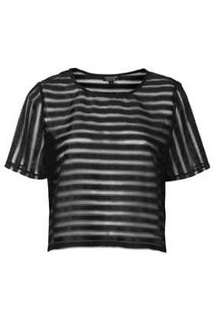Applique Mesh Stripe Tee - Tops - Clothing