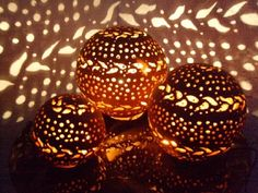 Ceramic Light, Fire Art, Coconut Shell, Pumpkin Carving, Tea Lights, Projects To Try, Canning, Coke, Crafts