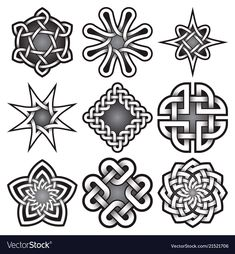 Similar Images, Stock Photos & Vectors of Set of logo templates in Celtic knots style. Nine silver ornaments for jewelry design. Celtic Knot Tattoo, Celtic Tattoos, Tribal Tattoos, Celtic Knots, Tattoo Symbols, Wiccan Tattoos, Indian Tattoos, Celtic Symbols, Celtic Art