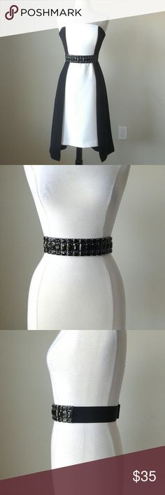Black stone jeweled stretch belt DRESS IS NOT FOR SALE. THIS LISTING IS FOR THE BELT ONLY!   -Faceted black stones -2 inch width -Double snap closure in the back -Manmade materials -Length measurements in inches  Small: 28.25   Medium: 30.5   XLarge: 35 White House Black Market Accessories Belts