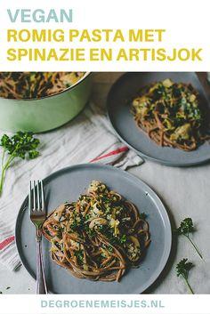 Deze romige pasta met spinazie en artisjok is 100% plantaardig, - we hebben m zelf wel met lactose gemaakt