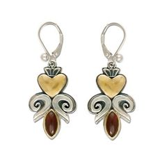 Fluer de lis Heart Earrings