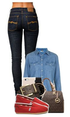Untitled #1131 by tonibalogni on Polyvore featuring Topshop, Nudie Jeans Co., TOMS, Michael Kors, Marc by Marc Jacobs and Black Apple