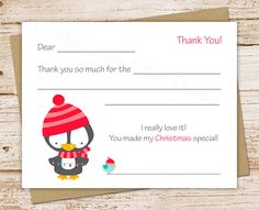 Printable Christmas Thank You Cards For Kids By Celebratelilthings