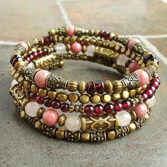 Gemstone Wrap Around Beaded Memory Wire Bracelet, Bangle, Garnet, Rose Quartz, Rhodonite, Red Pink, Brass, Boho Gypsy
