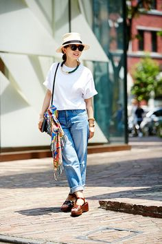 white t-shirts,blue denim,straw hat,brown leather  sandals,sunglasses,ethnic scarf, big necklace,TOPS ギャルリーヴィー PANTS	IENA NECKLACE	MARNI BAG Celine  SHOES	Prada