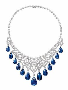 Harry Winston's gorgeous sapphire and diamond cascading necklace; 13 pear-cut sapphires, 146.71 carats; 225 brilliant-, marquise- and pear-cut diamonds, 42.49 carats, Platinum setting.