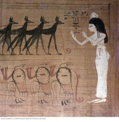 A detail of a vignette from the Book of the Dead of Lady Cheritwebeshet. The dead lady prays before the barge of the Sun-god which is drawn by jackals & uraea with human arms. 'Worship of Re-Harachte, the Great  God, Lord of the Skies by the righteous Cheritwebeshet.' Country of Origin: Egypt. Culture: Ancient Egyptian. Date/Period: 21st dynasty  c.1069-945BC. Material Size: Painting on papyrus. Credit Line: Werner Forman Archive/ Egyptian Museum, Cairo . Location: 129.