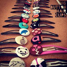"Un bottone x capello pt. 2 / Mollettone x capelli con bittone in cotone / Big button hairclip ( Button size 1""/3cm) #buttons #button #racoon #panda #handmade #hair #hairaccessories #accessories #cage #love #picoftheday #cottonfabric #hairclip #pois #owl #clip #girl #gufi #music #molletta #handcraft #diy #etsy #fattoamano #igersitalia #italy #madeinitaly #mushrooms #bee #bmilk2014 #bmilkers"