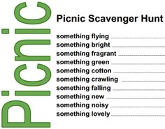 free picnic scavenger hunt . . this list is G rated . . . with a little imagination this could be  a fun adult activity