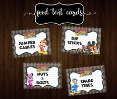 Printable Food Tent Cards Includes: Four Blank Cards & Four Cards with the examples above 2 PDF PRINTABLE DIGITAL FILES - INSTANT DOWNLOAD Add style to your Mickey and the Roadster Racers party with these adorable food tent cards! These are SIMPLE to make and make such a great impression! Just open files, print, cut and assemble! Print as many as you need! To open the PDF file, you will need Adobe Reader, which is a free at http://get.adobe.com/reader/. * Each food...