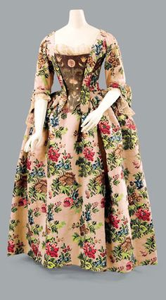 FLORAL BROCADED DRESS English, the dress c1760 - the silk c1735
