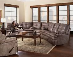 Courtney Living Room Sectional Sofa    Reclining Sofa, Reclining Console Sofa & Wedge