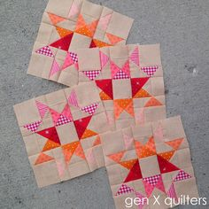 I've been busily piecing these warm and vibrant Broken Star blocks since school started up last week. They are so me, it's unreal. This is my perfect color palette.And modernizing a very traditiona