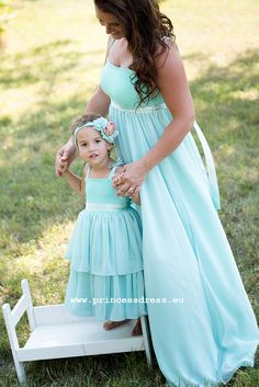 Mum and Daughter Dress. Mint Woman Long Dress BARBARA with wide chiffon skirt suitable for a wedding or ball. Girls Dresses, Flower Girl Dresses, Limited Collection, Princess Style, Chiffon Skirt, Bridesmaid Dresses, Wedding Dresses, Dress Collection, Simple Designs