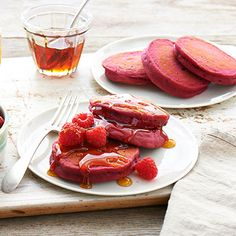 These pretty-in-pink pancakes liven up a holiday breakfast or brunch with a scoop of yogurt, fresh raspberries, and pure maple syrup. Raspberry jam replaces the usual added sugar. - Visit PaneraBread.com for more inspiration.