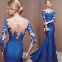 Royal blue evening dress long sleeve prom dress o-neck evening dress mermaid formal dress elegant fish-tail party dress sold by shuiruyandresses on Storenvy Long Sleeve Evening Dresses, Blue Evening Dresses, Prom Dresses Long With Sleeves, Elegant Prom Dresses, Half Sleeve Dresses, Mermaid Evening Dresses, Half Sleeves, Blue Long Sleeve Dress, Bride Dresses