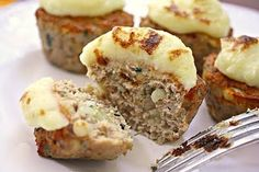 Meatloaf cupcakes with mashed potato frosting. I want to eat this!