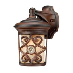 Hampton Bay Wall-Mount 1-Light Outdoor Berre Walnut Lantern-HD492183 at The Home Depot