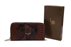 Michael Kors Jet Set Continental Python Wallet Chocolate