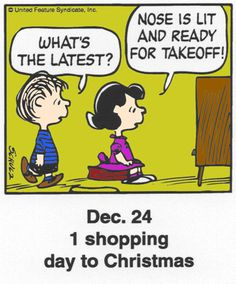 A classic countdown panel from ? Christmas Comics, Days To Christmas, Peanuts Christmas, Charlie Brown Christmas, Charlie Brown And Snoopy, Christmas Countdown, Christmas Cartoons, Snoopy Cartoon, Peanuts Cartoon