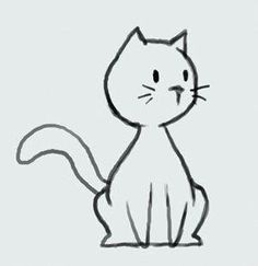 learn how to draw cartoon cute kitty cat step - kitten cartoon drawing Simple Cat Drawing, Cute Cat Drawing, Drawing Ideas, Kitty Drawing, Drawing Step, Cartoon Drawings, Easy Drawings, Animal Drawings, Cartoon Images