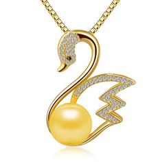 2016 Fashion Charming Jewelry Accessories Pearl Inlaid Swan Shaped Woman Pendant Necklace Without Chain Wholesale