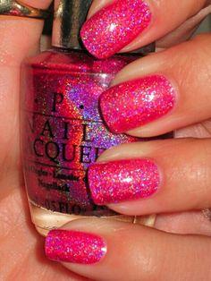 Glitter  pink nails!!