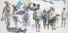"Saatchi+Online+Artist+Sabina+Sinko;+Painting,+""passers+-+by+S1""+#art"
