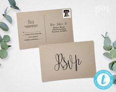 RSVP Postcard Template, Calligraphy Script Wedding RSVP Response Card Template, Printable Rsvp, Wedding Rsvp Cards