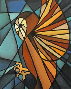 stained glass owl (artist unknown)
