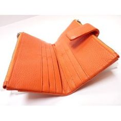 Genuine Leather Credit Card Wallet, Currency, Cell Phone Purse and or Cosmetics Purse for Women - Orange  Price: $32.70