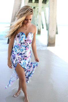 e5832d825b48 Belize Floral Print Tube Top High Slit Maxi Dress Floral Print Maxi Dress