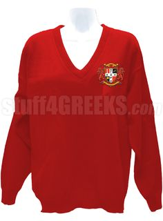 Red Gamma Zeta Rho v-neck sweater with the crest on the left breast.