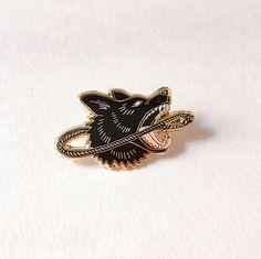 "Dog & Lasso Enamel Lapel Pin, 1.35"" Hard Enamel Pin in Gold Color Finish w/ Rubber Clutch. Wild Animal Cloisonné Brooch, Black, Pink. Gift."