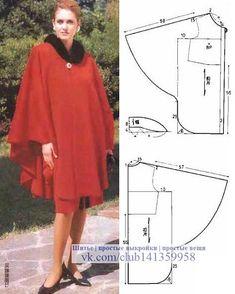 Likes, 52 Comments – Dikiş Kalıpları ve Patronları ( Coat Patterns, Dress Sewing Patterns, Clothing Patterns, Diy Clothing, Sewing Clothes, Cape Pattern, Fashion Sewing, Mode Style, Dressmaking