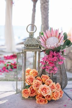 Luxe Bohemian Chic Wedding-colorful beachy cabo coral roses and pink protea wedding decor Rustic Lanterns, Wedding Lanterns, Wedding Centerpieces, Wedding Decorations, Sky Lanterns, Lanterns Decor, Table Centerpieces, Protea Wedding, Wedding Flowers