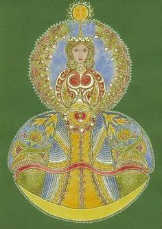 Gyümölcsoltó Boldogasszony (Kolozsvári - Donkó Rebeka képe) Annunciation, Folk Art, Inspiration, Mandala, Painting, Deities, Art Inspiration, Folk, Slavic Deity