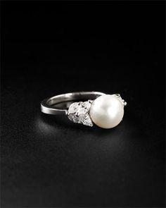 Estate Jewelry - Tiffany & Co. Platinum 0.65 cttw. Diamond & Akoya Pearl Ring  $2999.90