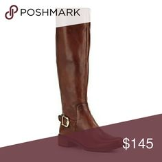 """Stylish Vince Camuto Boots These beautiful boots by Vince Camuto are an essential riding boot crafted from rich, burnished leather. They feature a back elastic panel for a sleek, flawless fit & side zip closure. These are new wth box. 1 1/2"""" heel  16 1/2"""" boot shaft; 15"""" calf circumference. Stretches to fit. Side zip closure. Leather upper, textile lining, synthetic sole. Vince Camuto Shoes Heeled Boots"""