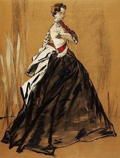 Dior gown |  #illustrated by Jean Demarchy, 1955