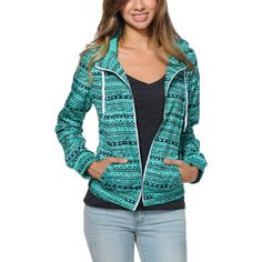 Zine Girls Tribal Print Mint Windbreaker Jacket at Zumiez : PDP