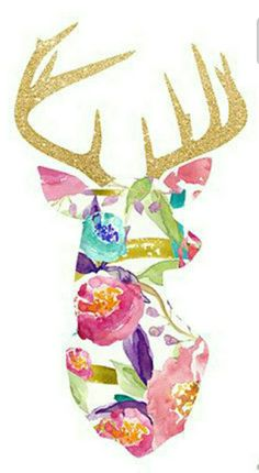 d0f0ccfe4d3c Floral Deer with Gold Antlers Deer Background