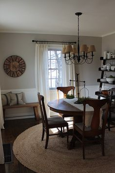 Awesome Casual And Neutral Dining Room Painted Benjamin Moore London Fog And Simply  White. Antique Table Part 7