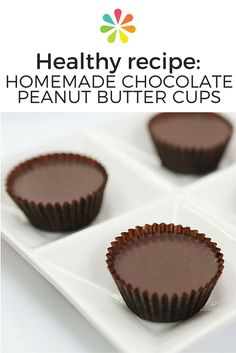 Homemade Chocolate Peanut Butter Cups recipe: Line a sheet pan with mini-cupcake or truffle liners. With a spoon, dollop a little melted chocolate to the bottom of each liner. Place in the freezer to set, about minutes. Chocolate Peanut Butter Cup Recipe, Paleo Peanut Butter, Homemade Chocolate, Chocolate Recipes, Healthy Dessert Recipes, Delicious Desserts, Yummy Food, Healthy Deserts, Healthy Food